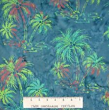 Bali Batik Fabric - Palm Trees on Blue - Princess Mirah Quilt Cotton YARD