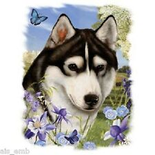 Siberian Husky Dog Floral HEAT PRESS TRANSFER for T Shirt Tote Sweatshirt  911g