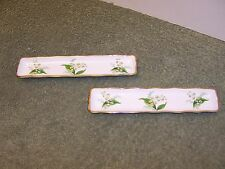 2 Hammersley Bone China Lily Of The Valley Rectangular Olive Dishes, Legs, Gold