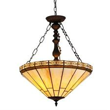 """Tiffany Style Stained Glass Mission 2 Light Inverted Pendant Fixture 18"""" Shade"""