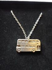 """Double Decker Bus English Pewter On 18"""" Silver Plated Curb Chain Necklace cw28"""