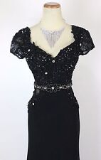 New Genuine TONY BOWLS TBE 21411 Black Beaded Formal Evening Gown Dress 0
