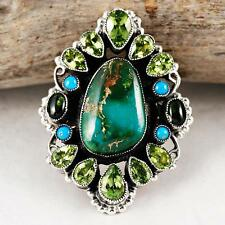 """LEO FEENEY """"Hidden Forest"""" Natural ROYSTON Tuqurquoise Ring 9 Sterling Silver"""
