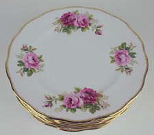 8 x DINNER PLATES Royal Albert AMERICAN BEAUTY vintage bone china pink roses