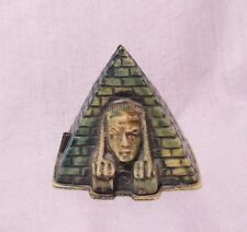 PYRAMID with SPHINX HEAD spring Tape Measure, Celluloid FIGURAL ANTIQUE c1920