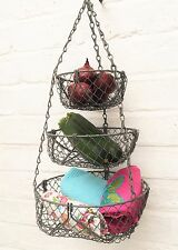 3 Tier Vintage Rustic Wire Hanging Basket Kitchen Storage Fruit Vegetable Towels