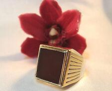Großer Siegelring aus 835 er Silber Karneol Fingerring Ring vergoldet / ax 598