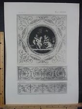 Rare Antique Original VTG Period Ornate Cherubs Scrollwork Engraving Art Print