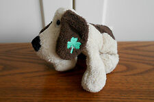 BROWN DOG WITH SHAMROCK beanie soft toy, plush/comforter RUSS mini soft chamois
