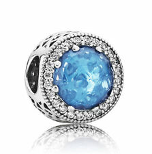 New Authentic Pandora Charm Bead Radiant Hearts Sky Blue Crystal 791725NBS