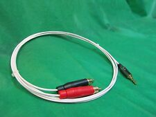 "3 FT SILVER PLATED 3.55 MM 1/8"" to DUAL RCA AUX AUDIOPHILE INTERCONNECT CABLE."
