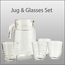 Jug & 4 Glasses Set Pitcher Juice Water Glassware Drinks Squash Tableware Dining