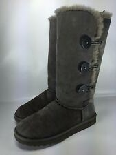 UGG Australia Womens Tall Bailey Button Gray Winter Boots Shoe Size 7