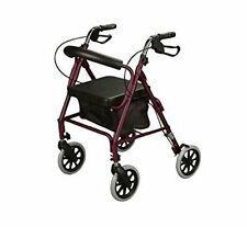 Cardinal Health Rollator Rolling Walker Medical Curved Back Soft Seat Burgundy