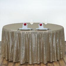 """108"""" Champagne SEQUIN ROUND TABLECLOTH Wedding Party Catering Reception Linens"""