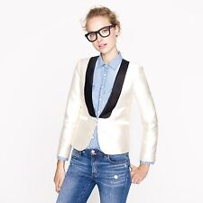 J.CREW Collection Tuxedo jacket 2 XS black ivory wool silk shawl blazer $450
