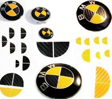 BLACK & YELLOW CARBON FIBER Complete Set Vinyl Sticker Overlay All BMW Emblems