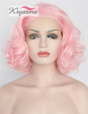 "12"" Short Bob Curly Synthetic Hair Lace Front Wigs Glueless Pink Wig Heat OK UK"