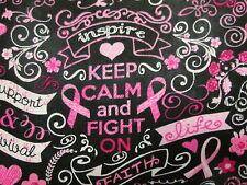 BREAST CANCER RIBBONS BUTTERFLIES KEEP CALM PINKS COTTON FABRIC BTHY