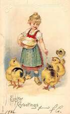 Easter Greetings Dutch Girl With Chicks Antique Postcard K38834