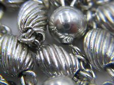 """† AMAZING VINTAGE STERLING TWISTED RIDGED OVAL ROSARY 32"""" NECKLACE 27.23 GRAMS †"""