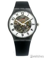 New Swatch Originals Skeletor Black Silicone Watch 41mm SUOB134 $80
