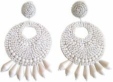 Kenneth Jay Lane White Beaded Gypsy Bohemian Style Clip Earrings