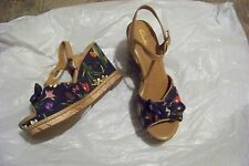 womens clarks amelia joyce printed fabric & leather wedge heels shoes size 8