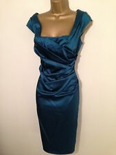 STUNNING COAST~ ALVA TEAL ~ SATIN  WIGGLE  OCCASION DRESS SIZE 12