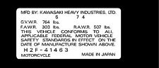 KAWASAKI H2B 750 HEADTUBE TAG  / REPRO DECAL