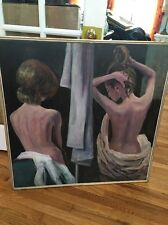 Beautiful Huge Vintage Estate Original Oil Painting Nude Woman By Diaz