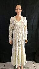 Vintage Sheer Crochet LACE WEDDING Maxi Dress Mermaid Style Trumpet M/L