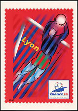 France 1998 coupe du monde de football LYON préaffranchie maximum carte inutilisée #C 32755