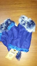Winter Fingerless Leather Gloves Hand Wrist W/Rabbit Fur -Blue NWT Free Ship