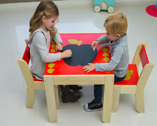 Labebe Furniture Apple Pattern Kids Boys Girls Solid Wood Table and 2 Chairs Set