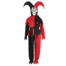EVIL JESTER CHILD COSTUME Boys Large 10-12 Harlequin Halloween Scary Red Boo NEW