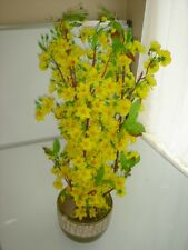 "plastic artificial yellow apricot flower tree with pot 30"" tall (hoa mai)"