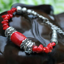 New Girl's Fashion Jewelry Tibetan Silver Bracelet Coral Lobster Clasp Bangle