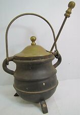 Vtg Cast Iron & Brass Pot with Tool & Top smudge smelting melting fireplace