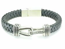 Black Leather Mens Stainless Steel Bracelet Bangle Cuff Magnetic Clasp CZ Stone