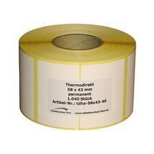 Thermo Etiketten auf Rolle - 58 x 43 mm - 1.040 Stück - Hülse 40 mm für BIZERBA