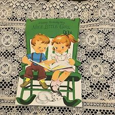 Vintage Greeting Card Birthday Girl Boy In Chair Cat