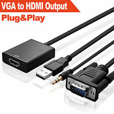 VGA To HDMI Output 1080P HD+USB Audio TV AV HDTV Video Cable Converter Adapter B