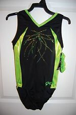 GK Elite Gymnastics Leotard -Adult Small - Lemon-lime/Black
