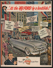 1949 FORD Custom Convertible Silver Car - New York Ticket Tape Parade VINTAGE AD