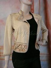 $4130 New with Tags FENDI Khaki Camel Embroidered Soft Suede Leather Jacket 38 4