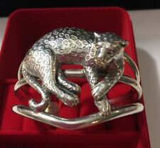 Carol Felley 3D Spotted Leopard Sterling Silver Wide Cuff Bracelet