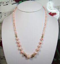 Genuine Natural Light Pink Coral Necklace With 14K GF Clasp. Graduated. LCR005
