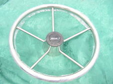 "BOSTON WHALER EMBLEM STAINLESS STEERING WHEEL  13-1/2"" CLASSIC SMOOTH STYLE NEW!"