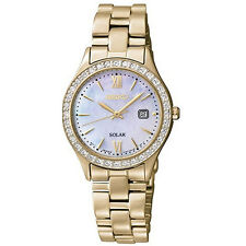 Seiko SUT076 Women's Solar MOP Dial Gold Steel Bracelet Watch